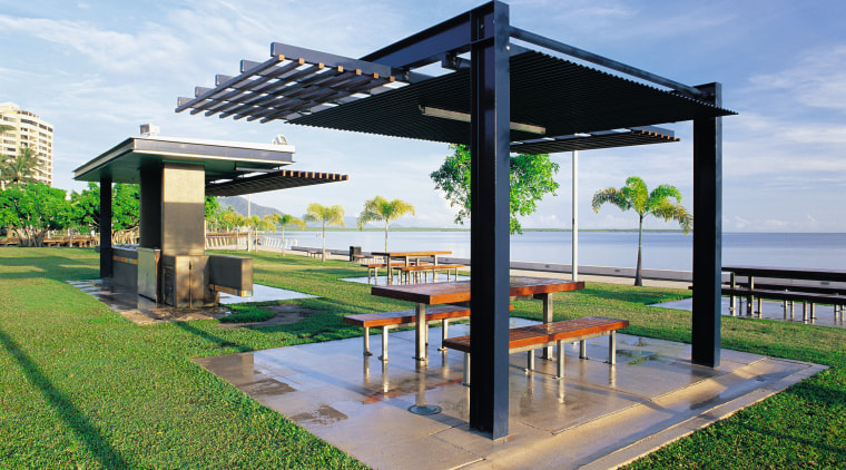 View of the BBQ and picnic areas, lawn, outdoor structure, pavilion, pergola, real estate