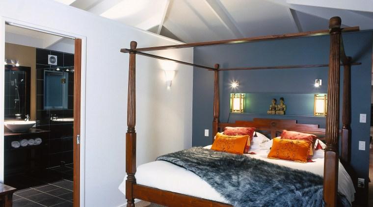A view of the master bedroom and ensuite, bed, bed frame, bedroom, ceiling, furniture, interior design, real estate, room, suite, white, black