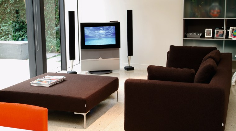 view of the B&O system in the lounge couch, furniture, interior design, living room, product design, property, table, black, white