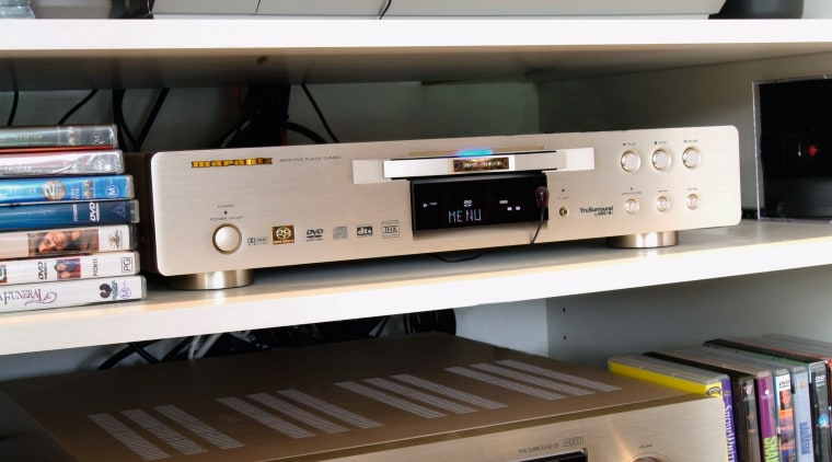 Image of audio equipment, DVD players and VCR. electronic device, electronics, stereophonic sound, technology, gray, black