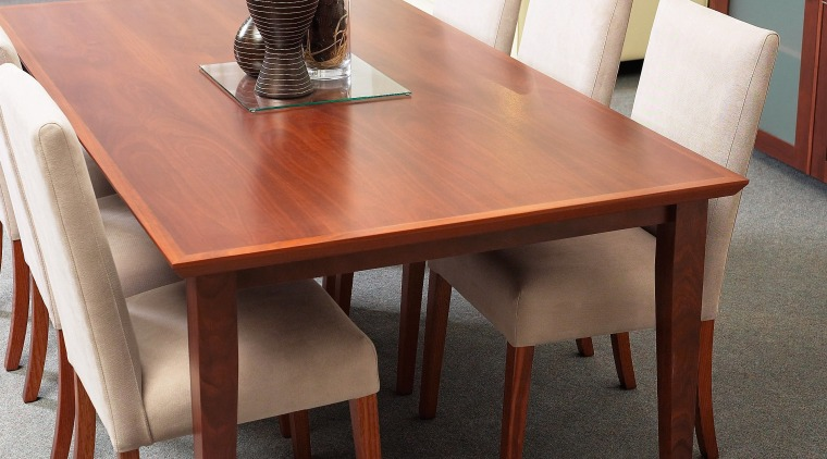 view of this hardwood furniture designed by mabarrack chair, coffee table, dining room, end table, floor, flooring, furniture, hardwood, kitchen & dining room table, table, wood, wood stain