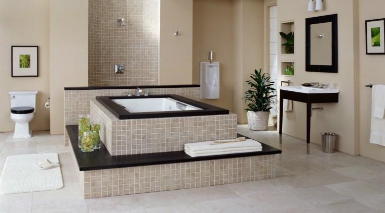 view of the luxurious bathroom showing the lloyd bathroom, floor, flooring, room, tile, gray