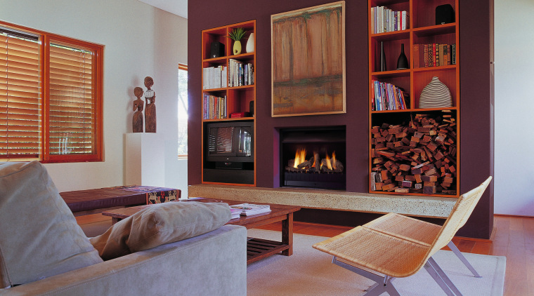 view of the lounnge and jet master fireplace bookcase, furniture, home, interior design, living room, real estate, room, shelving, wall, window, gray, red