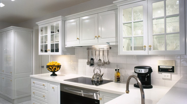 An example of the style of cabinets done cabinetry, countertop, cuisine classique, interior design, kitchen, room, window, gray, white