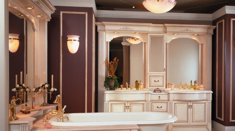 View of a large grand bathroom, wooden antique bathroom, cabinetry, ceiling, cuisine classique, furniture, interior design, room, gray, brown