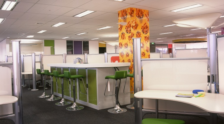 view of the office floor using bold colours ceiling, furniture, interior design, office, gray, black
