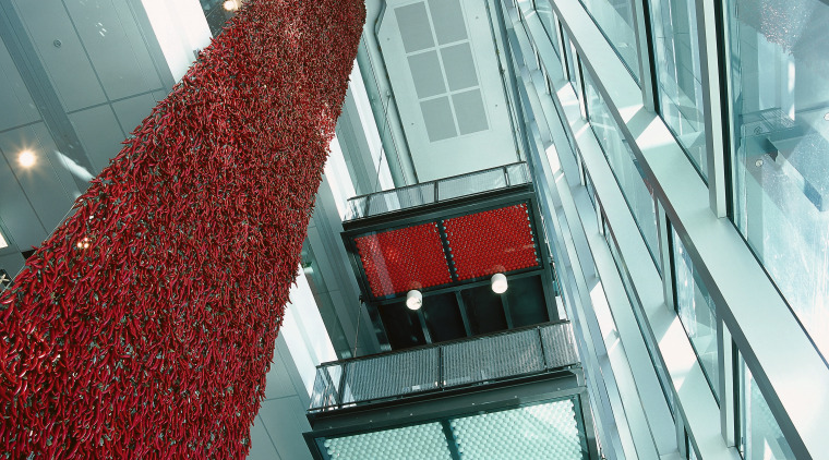 view of the large feature wall incorporating red architecture, building, daylighting, facade, glass, line, metropolitan area, structure, gray