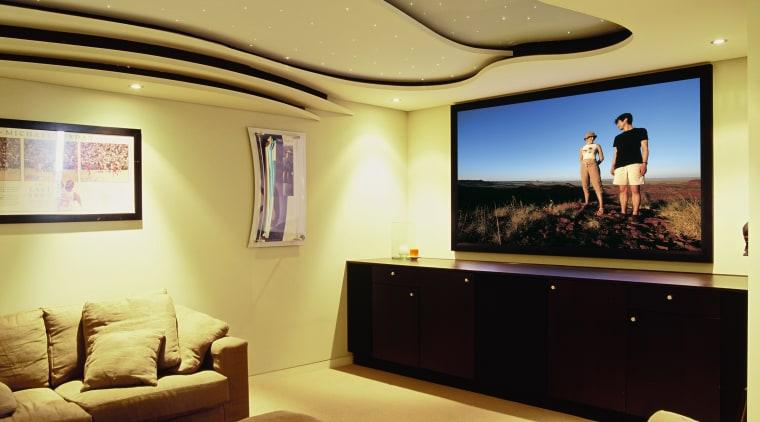 view of the custom designed home theatre and ceiling, home, interior design, living room, room, suite, orange