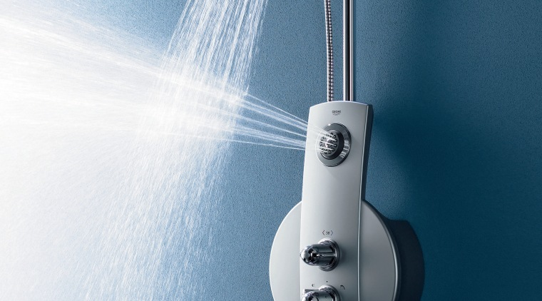 view of the stainless steel aquatower 1000 shower product, product design, teal