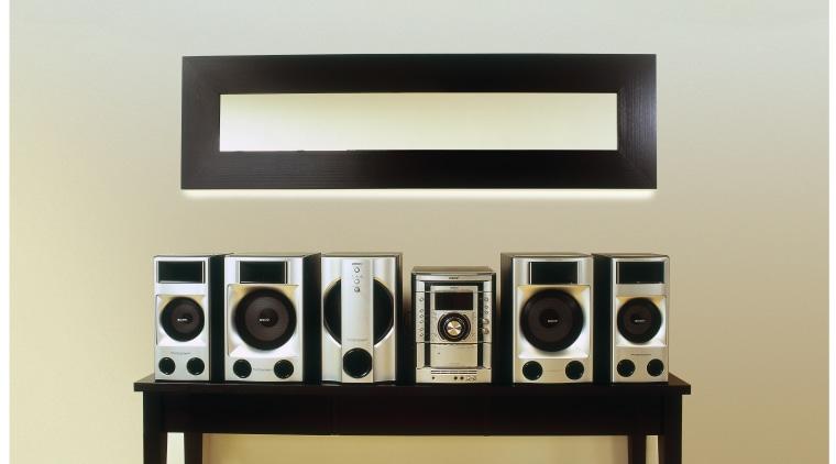 view of the sony minsystem furniture, product design, shelf, shelving, white, orange