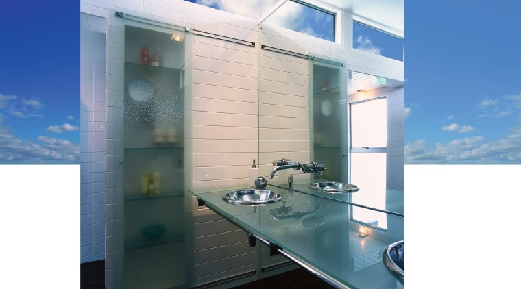 view of the single sheet glass vanity with architecture, daylighting, glass, interior design, property, real estate, white