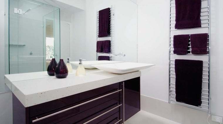 view of this bathroom showing blood red vainty bathroom, bathroom accessory, bathroom cabinet, floor, interior design, product design, room, sink, gray, white