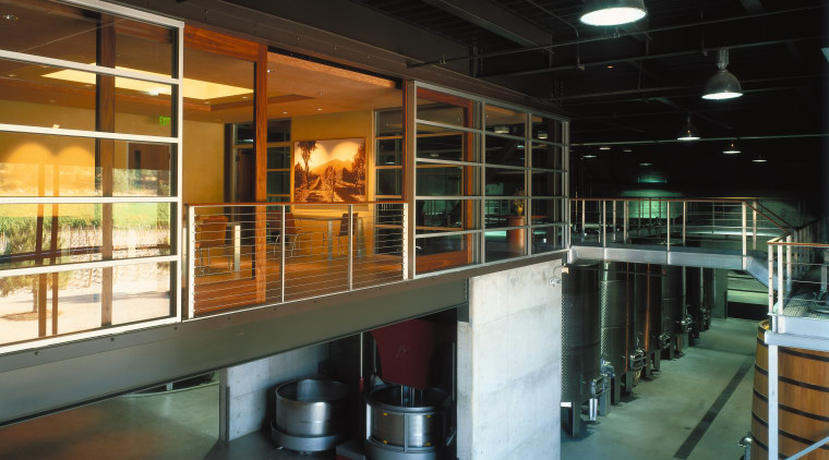 view of the winery that is designed to architecture, glass, interior design, black