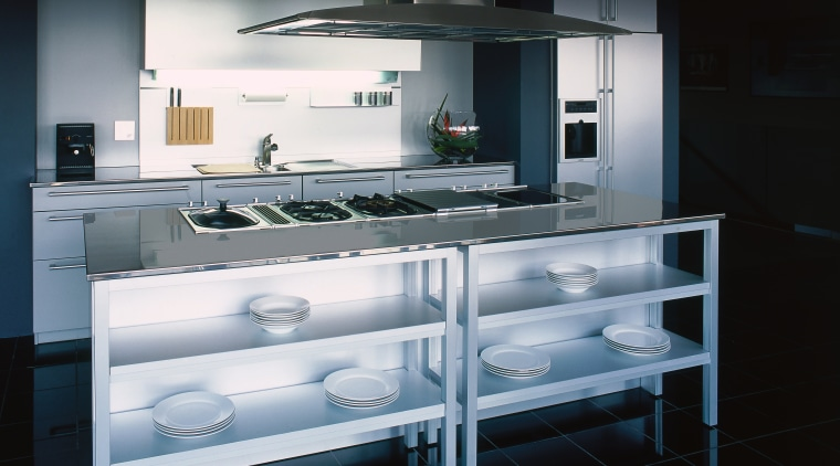 A view of a kitchen, stainless steel benchtops, countertop, glass, home appliance, interior design, kitchen, kitchen appliance, kitchen stove, major appliance, product design, black, gray