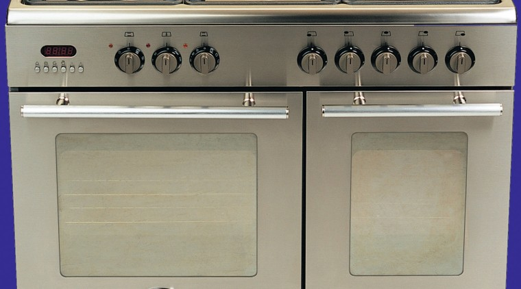 A view of a large stainless steel oven gas stove, home appliance, kitchen appliance, kitchen stove, major appliance, oven, product, gray