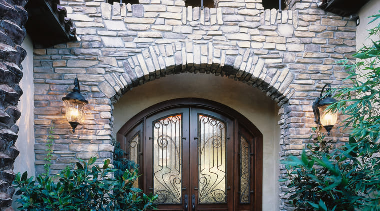 view of this timber arch front door designed arch, architecture, building, cottage, courtyard, estate, facade, home, house, mansion, outdoor structure, property, real estate, residential area, roof, window, black