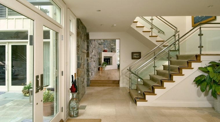 view of the remodelled living are that created architecture, daylighting, estate, floor, flooring, handrail, home, house, interior design, lobby, real estate, stairs, orange, brown