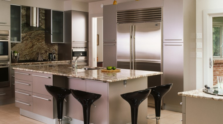 A view of the kitchen area, tiled floor, cabinetry, countertop, cuisine classique, interior design, kitchen, gray, brown