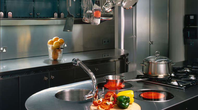 A view of a kitchen, stainless steel benchtops, countertop, interior design, kitchen, black, gray