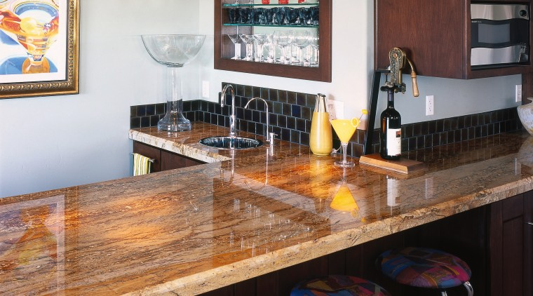 view of the honey coloured ganite benchtop countertop, dining room, interior design, kitchen, room, table, gray, black