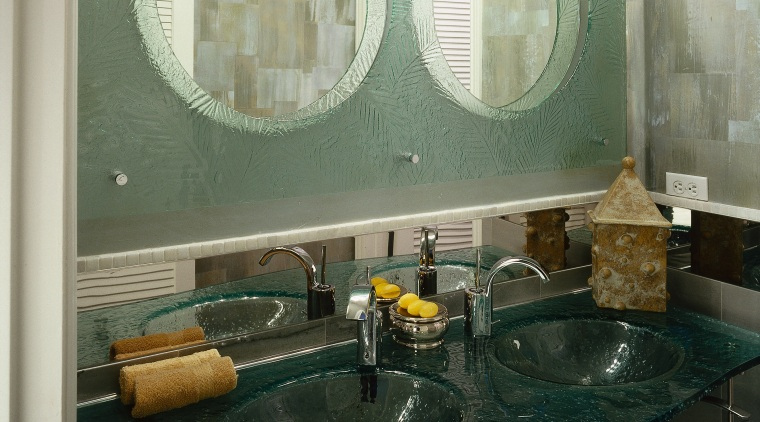 view of the glass mirror surround provided by bathroom, countertop, glass, interior design, room, sink, black
