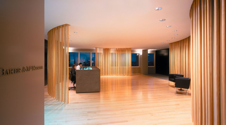 A view of the reception area, cream walls, apartment, ceiling, floor, flooring, hardwood, interior design, lobby, real estate, room, wood, brown, orange
