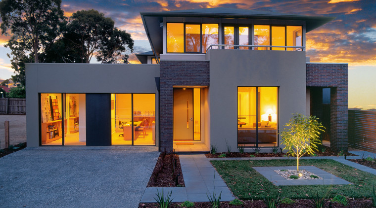 view of the Urban House design from inform architecture, building, elevation, estate, evening, facade, hacienda, home, house, property, real estate, residential area, sky, villa, window, blue