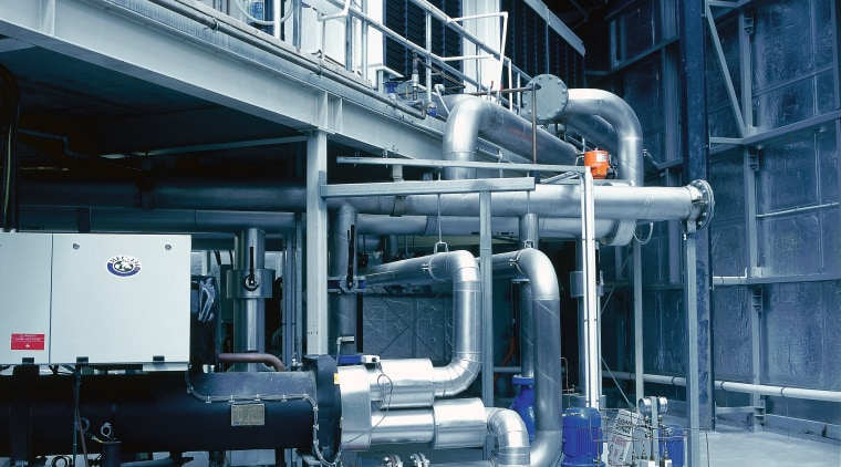 A view of the air conditioning system used engineering, factory, industry, machine, manufacturing, pipe, teal, gray