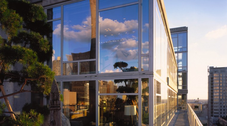 An exterior vie wof the home, large glass architecture, building, facade, home, house, real estate, reflection, residential area, sky, window, black