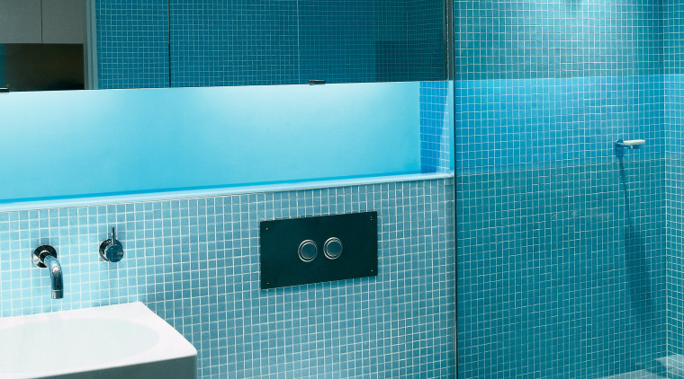 View of Toilet, Shower and faucetry in Bathroom. azure, bathroom, bidet, blue, ceiling, daylighting, floor, glass, interior design, plumbing fixture, product, product design, public toilet, purple, room, tile, toilet, toilet seat, turquoise, wall, teal