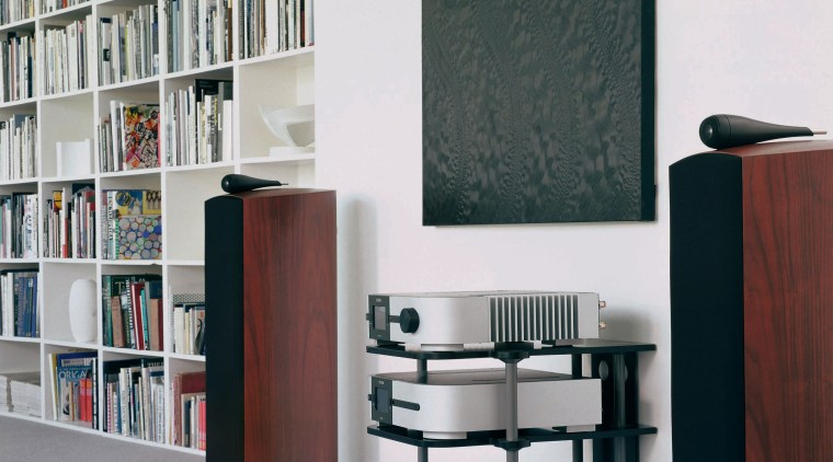 B&W loudspeakers have developed  its new classic bookcase, furniture, library, product design, public library, shelf, shelving, white, black