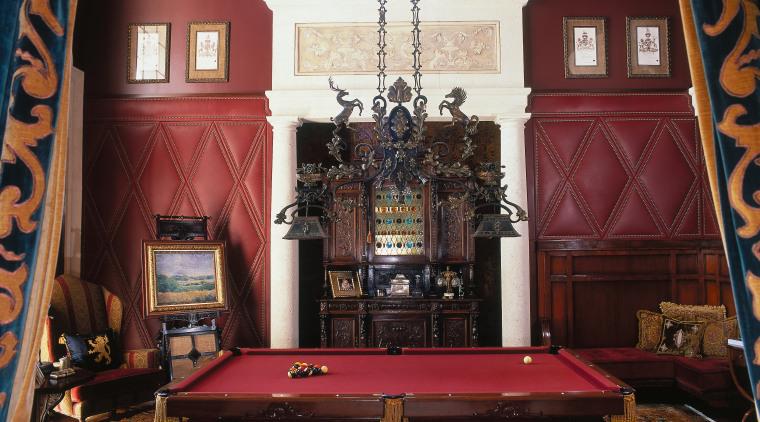 view of the large pool room that was billiard room, billiard table, chapel, english billiards, estate, furniture, home, interior design, living room, pool, recreation room, room, table, wall, black