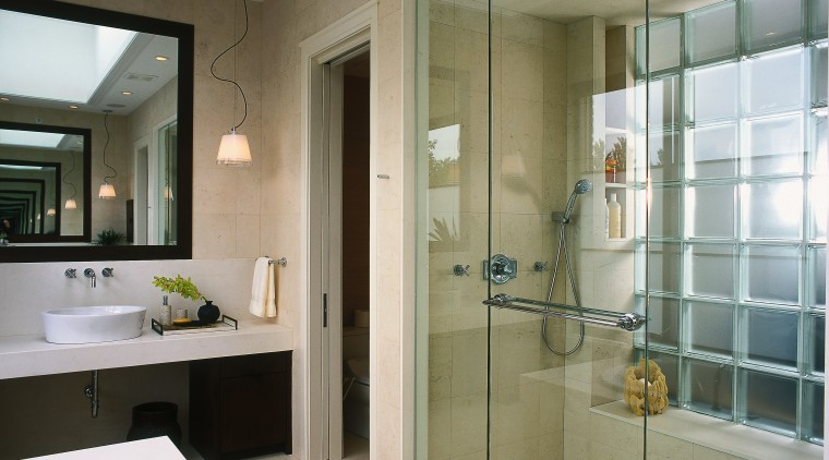 view of this bathroom featuring rnoan-nu tone stylish bathroom, glass, interior design, room, window, gray