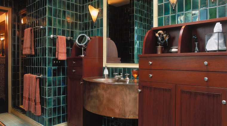 this master suite by architect kathryn Quinn and bathroom, cabinetry, flooring, interior design, room, red, black