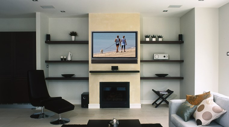 view of sharps 45 inch lcd tv paired floor, furniture, interior design, living room, room, table, white, gray, black