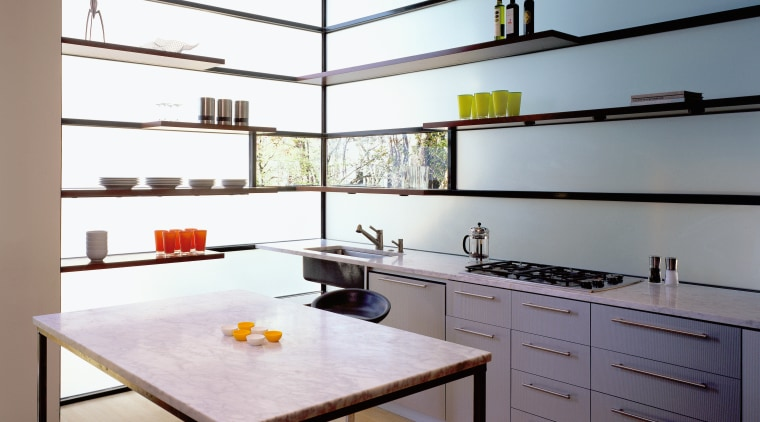 shelving in the kitchen is bolted onto the architecture, cabinetry, ceiling, countertop, floor, interior design, kitchen, room, gray