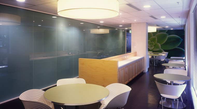 view of this informal office meeting area where architecture, ceiling, interior design, office, gray