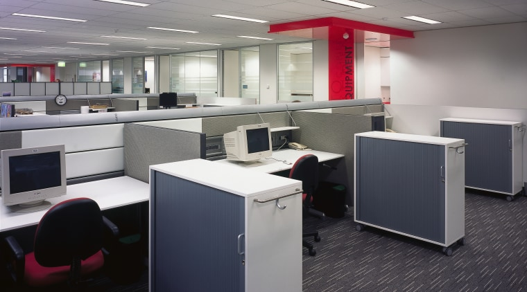 view of the desk layout and office furniture desk, furniture, office, product design, gray, black
