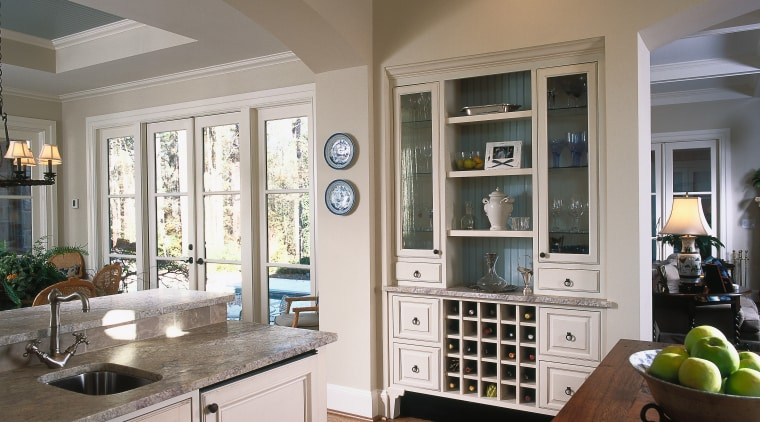 A close up view of the wooden kitchen cabinetry, ceiling, countertop, cuisine classique, interior design, kitchen, room, window, gray, brown