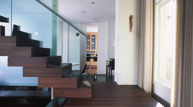 A close up view of the wooden staircase, architecture, ceiling, daylighting, floor, flooring, handrail, hardwood, house, interior design, loft, stairs, wood, wood flooring, black, gray