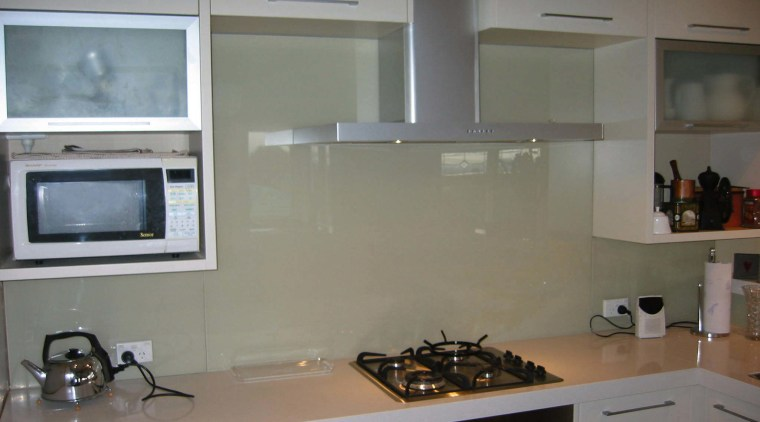 Examples of how glass splashbacks from Glass Solutions cabinetry, countertop, flooring, glass, interior design, kitchen, room, under cabinet lighting, gray
