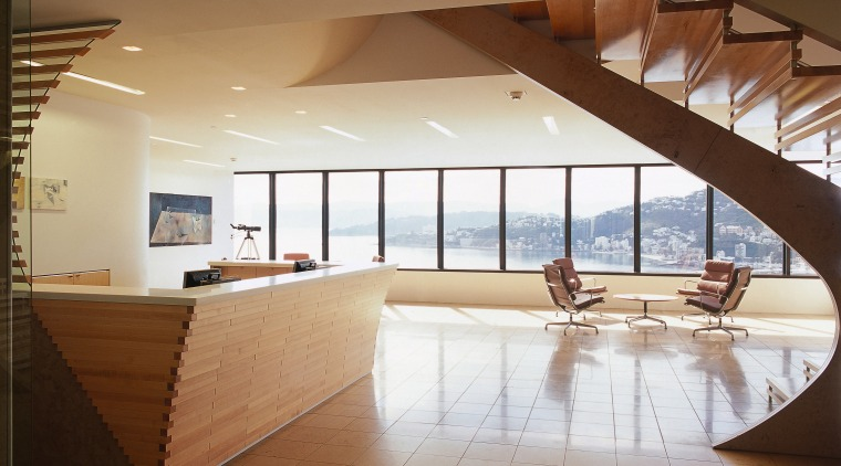 A view of the reception area, wooden deck architecture, ceiling, daylighting, floor, flooring, interior design, lobby, real estate, brown