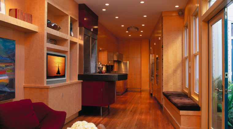 designer verno has remodelled this galley kitchen, featuring ceiling, interior design, living room, lobby, real estate, room, brown