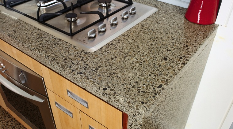 An example of the way The Concrete Doctors countertop, floor, furniture, granite, kitchen, brown, gray