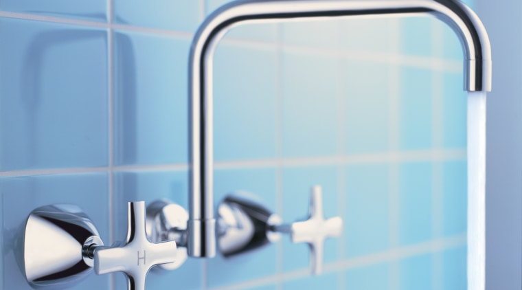 Tapware set into wall with blue tiles behind. blue, line, plumbing fixture, product, product design, tap, teal, white