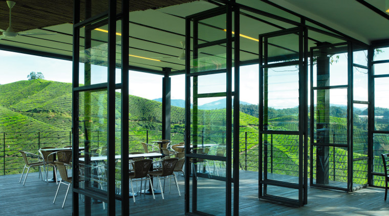 large bifold doors open the fron section of architecture, structure, window, black, green