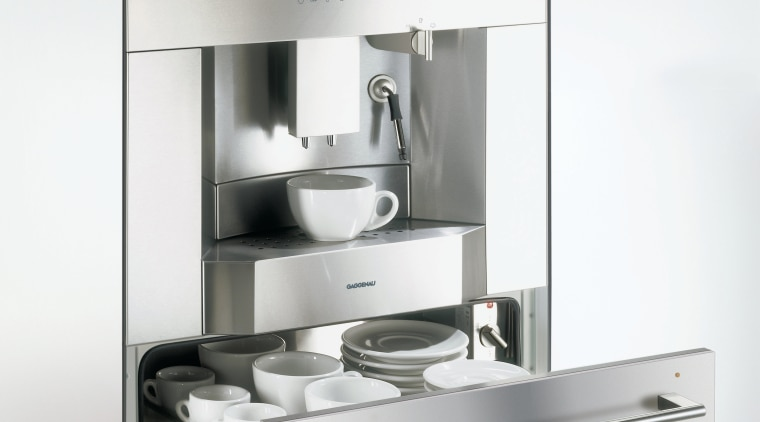 Kitchen with built in coffee machine with warming home appliance, kitchen appliance, product, product design, small appliance, tap, white