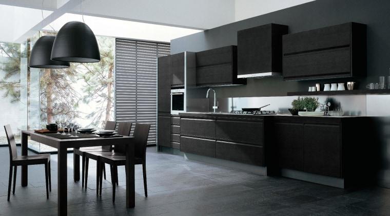 Kitchen and dining area with dark gray cabinetry, countertop, cuisine classique, floor, flooring, interior design, kitchen, tile, black, gray