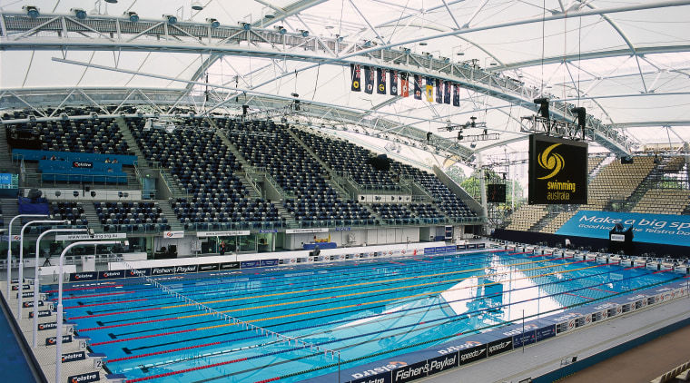 View of MSAC competition pool with curved PVC arena, leisure, leisure centre, recreation, sport venue, sports, stadium, structure, swimming pool, water, white