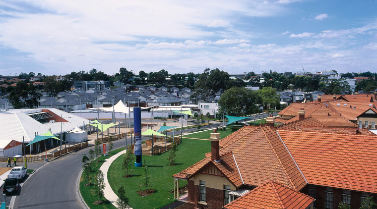 View of Parkville Gardens, being used as the city, real estate, residential area, roof, sky, tree, white